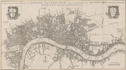 A NEW MAP OF THE CITYES OF LONDON, WESTMINSTER AND THE BURROUGH OF SOUTHWARK TOGETHER WITH THE SUBURBS AS THEY ARE NOW STANDDING Anno Dom.1707.